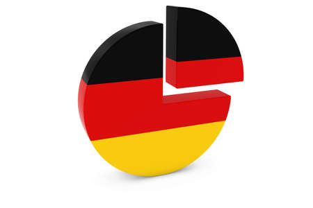 german flag: German Flag Pie Chart - Flag of Germany Quarter Graph 3D Illustration