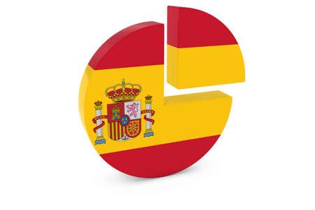 spanish flag: Spanish Flag Pie Chart - Flag of Spain Quarter Graph 3D Illustration Stock Photo