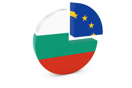 european flags: Bulgarian and European Flags Pie Chart 3D Illustration