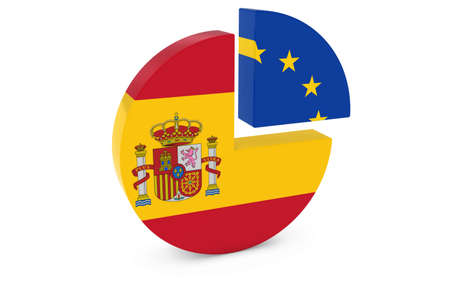 european flags: Spanish and European Flags Pie Chart 3D Illustration Stock Photo