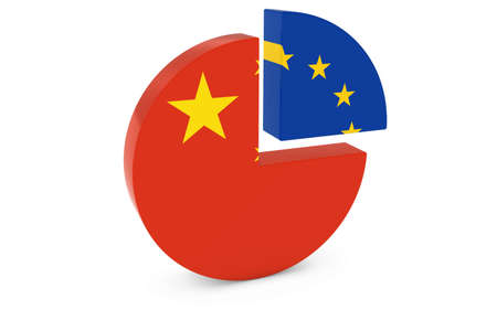 european flags: Chinese and European Flags Pie Chart 3D Illustration Stock Photo