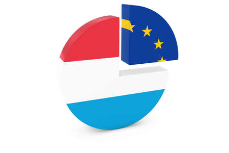european flags: Luxembourg and European Flags Pie Chart 3D Illustration
