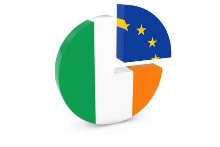 european flags: Irish and European Flags Pie Chart 3D Illustration