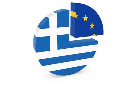european flags: Greek and European Flags Pie Chart 3D Illustration