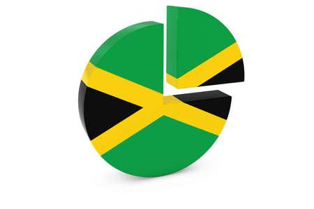jamaican flag: Jamaican Flag Pie Chart - Flag of Jamaica Quarter Graph 3D Illustration Stock Photo