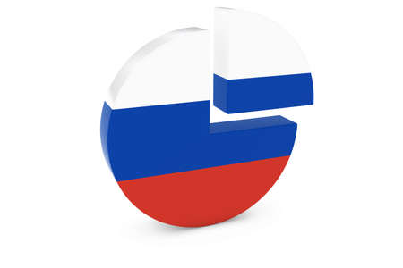 russian flag: Russian Flag Pie Chart - Flag of Russia Quarter Graph 3D Illustration
