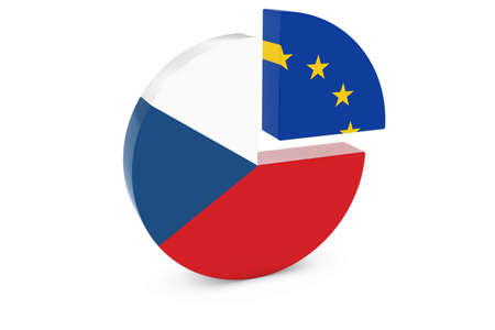 european flags: Czech and European Flags Pie Chart 3D Illustration Stock Photo