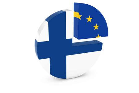 european flags: Finnish and European Flags Pie Chart 3D Illustration