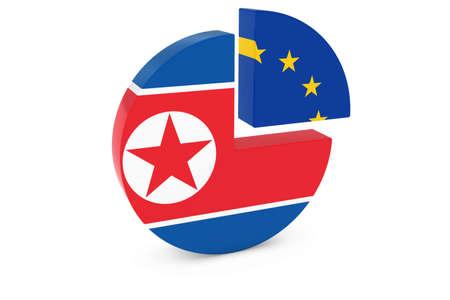european flags: North Korean and European Flags Pie Chart 3D Illustration