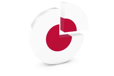 bandera japon: Gr�fico de sectores de la bandera japonesa - Bandera de Jap�n Barrio Ilustraci�n de gr�ficos 3D Foto de archivo