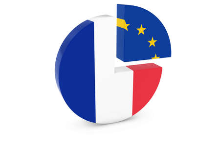 european flags: French and European Flags Pie Chart 3D Illustration Stock Photo