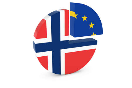 european flags: Norwegian and European Flags Pie Chart 3D Illustration