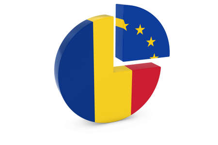 romanian: Romanian and European Flags Pie Chart 3D Illustration Stock Photo