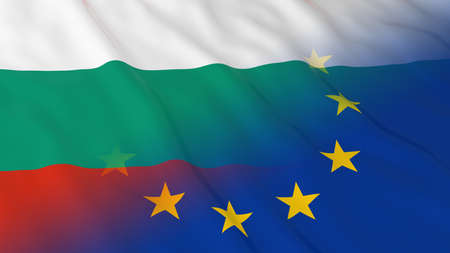 merged: Bulgarian and European Union Relations Concept - Merged Flags of Bulgaria and the EU 3D Illustration Stock Photo