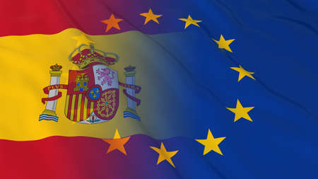 opposed: Spanish and European Union Relations Concept - Merged Flags of Spain and the EU 3D Illustration