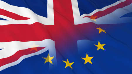 fade out: British and European Union Relations Concept - Merged Flags of Britain and the EU 3D Illustration Stock Photo