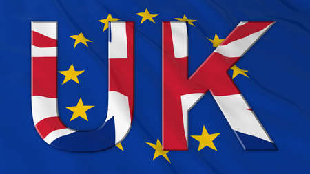 bandera reino unido: el texto de la bandera del Reino Unido sobre la bandera de la UE de fondo - ilustraci�n 3D