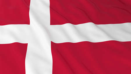 danish flag: Danish Flag HD Background - Flag of Denmark 3D Illustration Stock Photo