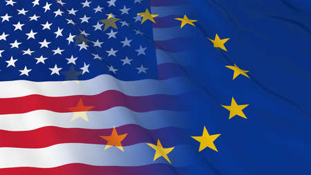 opposed: American and European Union Relations Concept - Merged Flags of the USA and the EU 3D Illustration Stock Photo