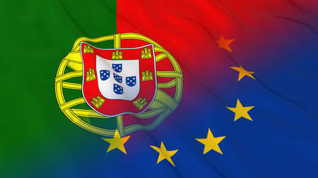 opposed: Portuguese and European Union Relations Concept - Merged Flags of Portugal and the EU 3D Illustration