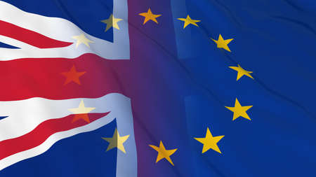 merged: British and European Union Relations Concept - Merged Flags of Britain and the EU 3D Illustration Stock Photo