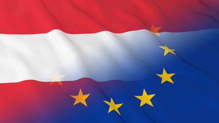 opposed: Austrian and European Union Relations Concept - Merged Flags of Austria and the EU 3D Illustration