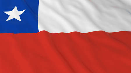 chilean flag: Chilean Flag HD Background - Flag of Chile 3D Illustration