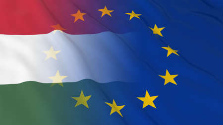 opposed: Hungarian and European Union Relations Concept - Merged Flags of Hungary and the EU 3D Illustration
