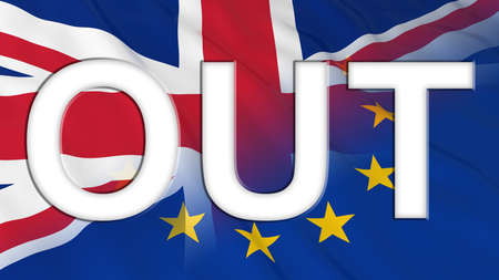 Brexit - Britain OUT of the European Union - 3D Illustration with Flags Stock Photo - 57897408