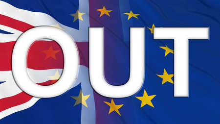 Brexit - Britain OUT of the European Union - 3D Illustration with Flags