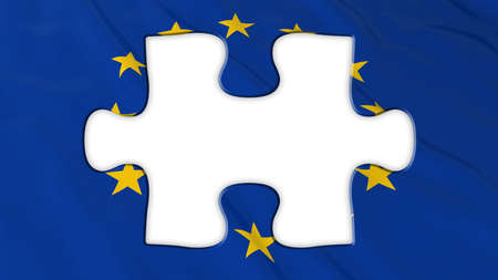 missing piece: Brexit Concept - Empty White Missing Piece from EU Flag - 3D Illustration