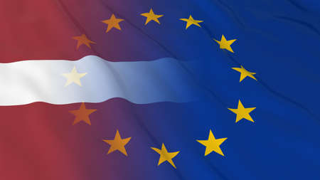 relations: Latvian and European Union Relations Concept - Merged Flags of Latvia and the EU 3D Illustration