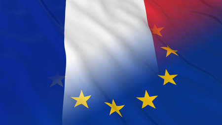opposed: French and European Union Relations Concept - Merged Flags of France and the EU 3D Illustration