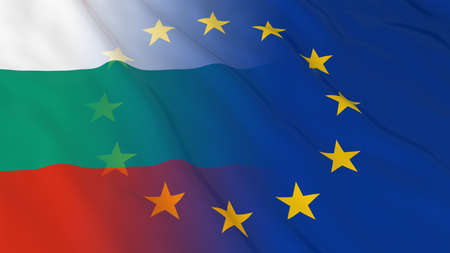 bulgarian: Bulgarian and European Union Relations Concept - Merged Flags of Bulgaria and the EU 3D Illustration Stock Photo