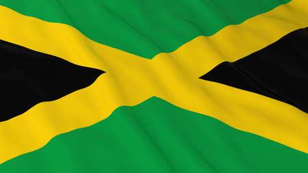 jamaican flag: Jamaican Flag HD Background - Flag of Jamaica 3D Illustration