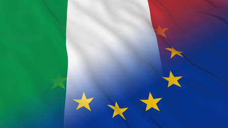 europe closeup: Italian and European Union Relations Concept - Merged Flags of Italy and the EU 3D Illustration Stock Photo