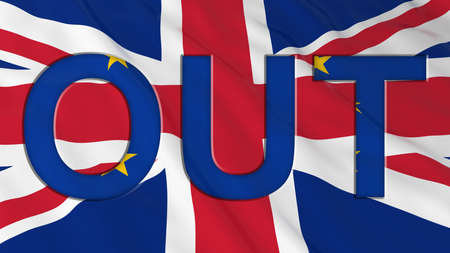 eu: Brexit - Britain OUT of the European Union - 3D Illustration with Flags