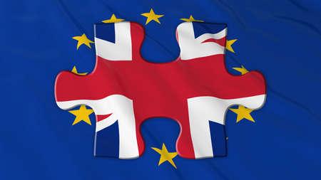 eu flag: Brexit Concept - UK Puzle piece on EU Flag - 3D Illustration