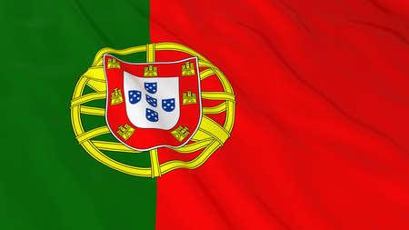 crinkled: Portuguese Flag HD Background - Flag of Portugal 3D Illustration Stock Photo