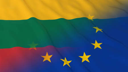 opposed: Lithuanian and European Union Relations Concept - Merged Flags of Lithuania and the EU 3D Illustration Stock Photo
