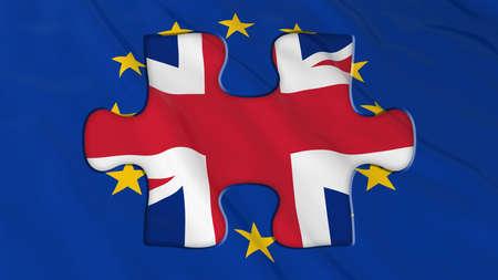 missing piece: Brexit Concept - UK Missing piece of EU Flag Puzzle - 3D Illustration