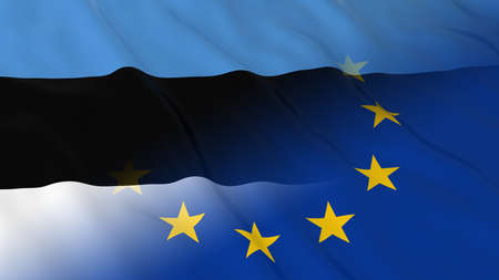 opposed: Estonian and European Union Relations Concept - Merged Flags of Estonia and the EU 3D Illustration Stock Photo