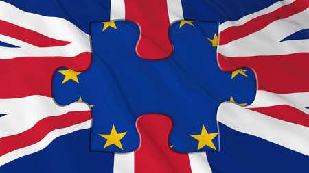 missing piece: Brexit Concept - EU Missing piece of UK Flag Puzzle - 3D Illustration