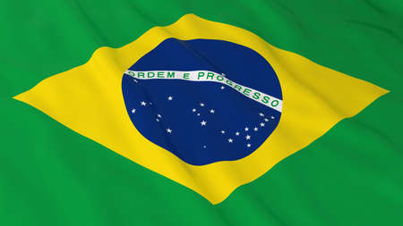 brazilian flag: Brazilian Flag HD Background - Flag of Brazil 3D Illustration Stock Photo