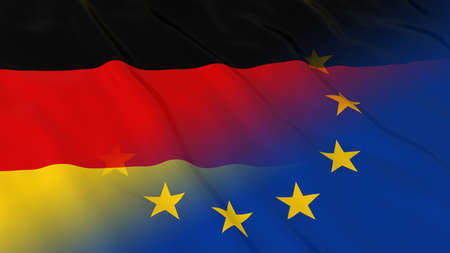 relations: German and European Union Relations Concept - Merged Flags of Germany and the EU 3D Illustration