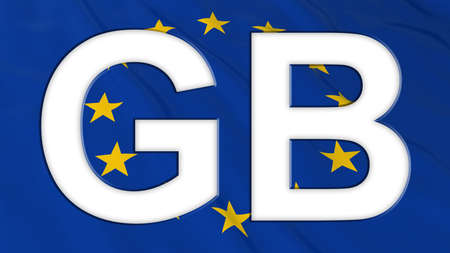 gb: European Union Flag with Empty White GB Text cut out - 3D Illustration