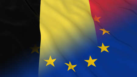 merged: Belgian and European Union Relations Concept - Merged Flags of Belgium and the EU 3D Illustration Stock Photo