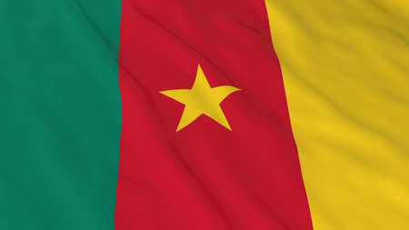 cameroonian: Cameroonian Flag HD Background - Flag of Cameroon 3D Illustration Stock Photo
