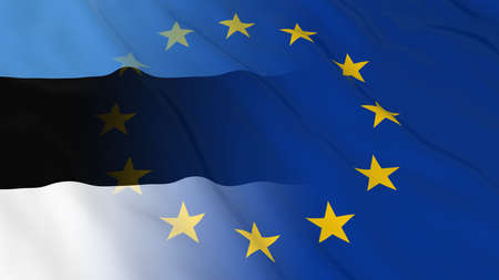 Estonian and European Union Relations Concept - Merged Flags of Estonia and the EU 3D Illustration Stock Photo