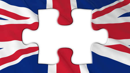 missing piece: Brexit Concept - Empty White Missing Piece from UK Flag - 3D Illustration